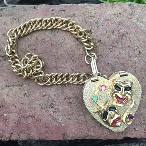 Vintage joker rhinestone box open charm bracelet